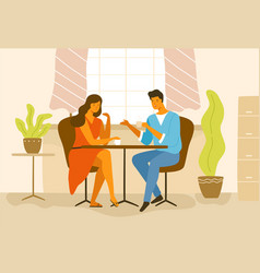 cute romantic couple sitting at cafe table vector image