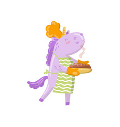 cute unicorn chef character holding freshly baked vector image