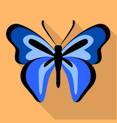 dark blue butterfly icon flat style vector image