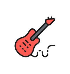electronic bass guitar music instrument flat vector image
