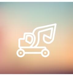 Excavator truck thin line icon vector