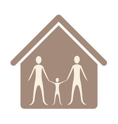 Family together inside house vector