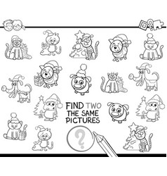 Find identical items coloring page with xmas pets vector