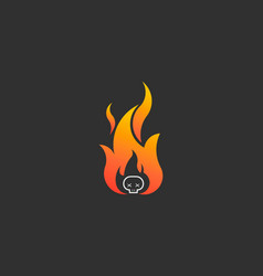 fire flame with skull logo symbol vector image