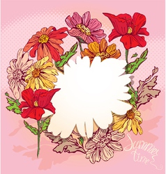 Floral Background with hand drawn flowers vector