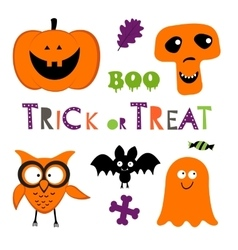Fun Halloween set with pumpkin owl bat ghost vector image
