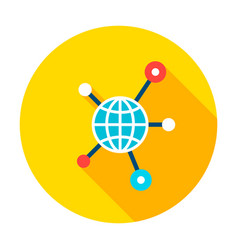 globe connection graph circle icon vector image