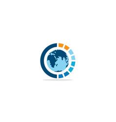 globe earth technology logo vector image