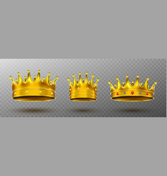 golden crowns for king or queen monarchy symbol vector image