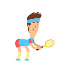 Guy with funny face with racket in hand ready to vector