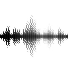 Halftone sound wave black and white pattern vector