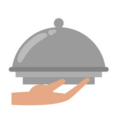 hand tray catering service vector image