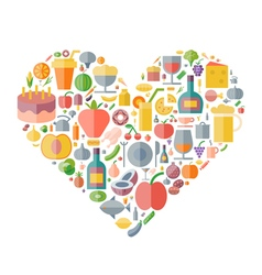 Icons shape flat food drinks heart vector