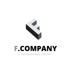 isometric monochrome F letter logo Company vector image