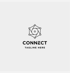 Lens hexagon technology logo design camera vector