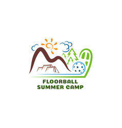 Logo floorball summar camp fun cartoon logo vector