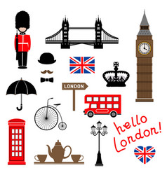 london city collection of themed clip-art vector image
