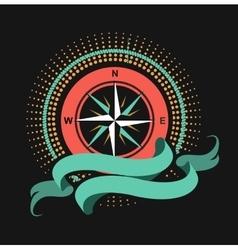 Marine emblem windrose vector image