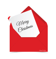 merry christmas in red letter envelope vector image