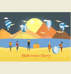 minimal scene for halloween day and balloon vector image