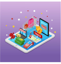 Mobile shopping e-commerce online supermarket vector