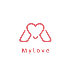monogram initial letter m with heart love logo vector image