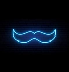 Movember bright signboard neon blue mustache sign vector