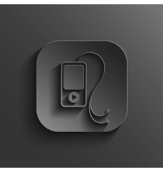 MP3 player icon - black app button vector image