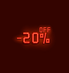 neon 20 sale off text banner night sign vector image
