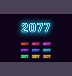 Neon number 2077 cyberpunk digits in different vector