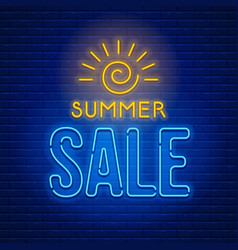 Neon sign summer sale vector