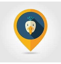 Peacock flat pin map icon Animal head vector image