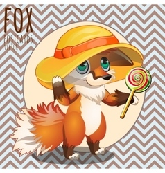 Pensive Fox in the hat with Lollipop vector