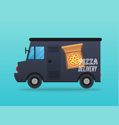 Pizza delivery local delivery van flat design vector