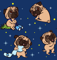 pug puppy pattern cartoon style vector image