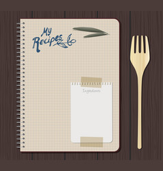 Recipe notebook graph with hand drawn text olive vector