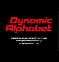 red sport dynamic font with numbers and vector image
