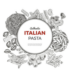 Round poster with hand drawn pasta vector