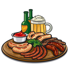 sausages and beer vector image