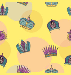 Seamless pattern with bright graceful crowns vector