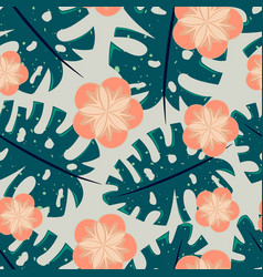 Seamless tropical pattern with flowers vector