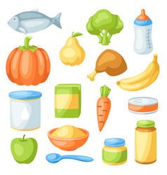 Set baby food items vector