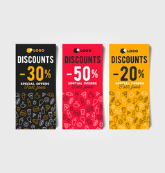 set discount flayers with fast food template vector image