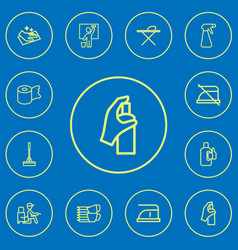 set of 12 editable cleanup outline icons includes vector image