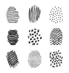 Set of 9 hatching hand drawn vector image