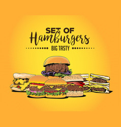 Set of hamburgers vector