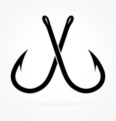 Simple crossed fishing fish hooks silhouette vector