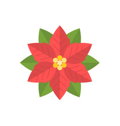 Simple poinsettia icon flat design vector