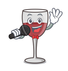 Singing wine mascot cartoon style vector