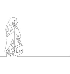 Single continuous line drawing young cute vector